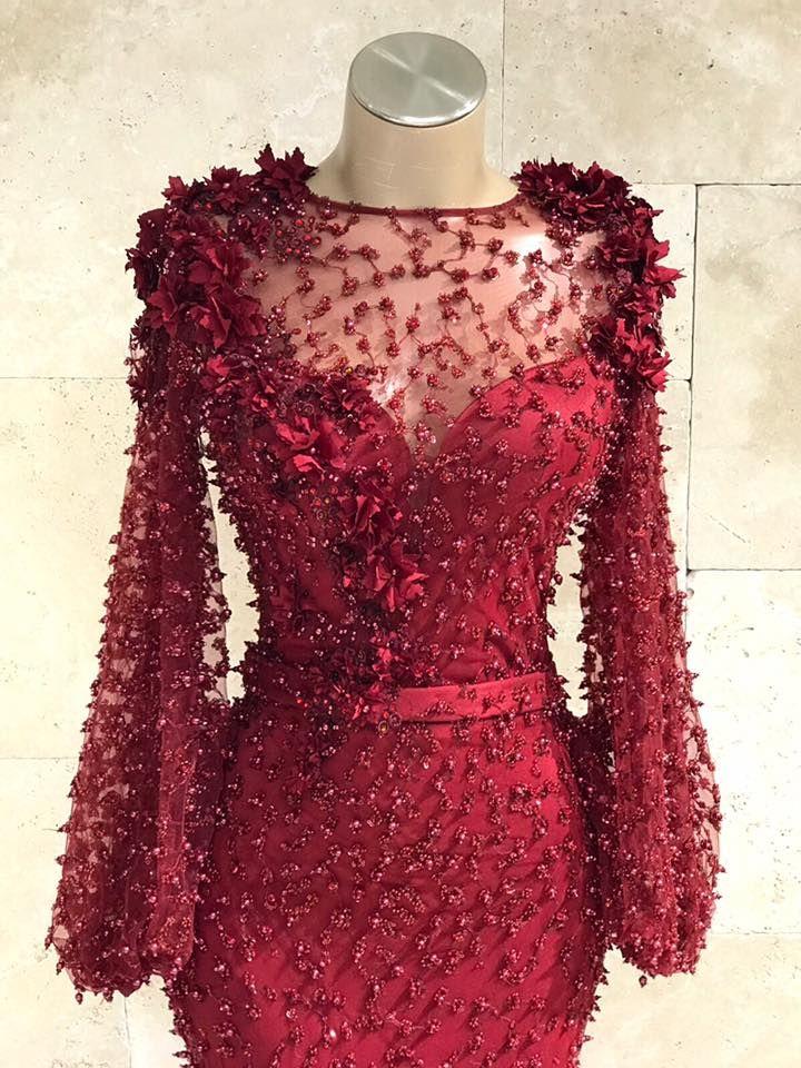 Fashion Abendkleider Lang Spitze Rot   Abiballkleid Mit ...