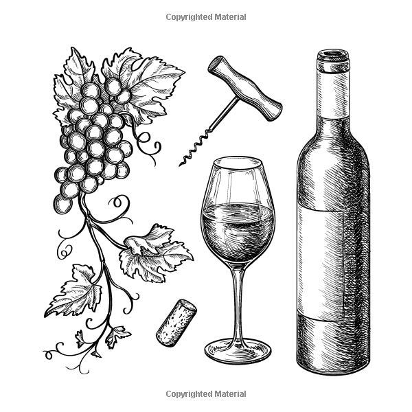 Wine Cheese Crackers And Coloring The Coloring Book For Adults With Anti Stress Designs And Patterns For Wine Vine Drawing Grape Drawing Line Art Drawings