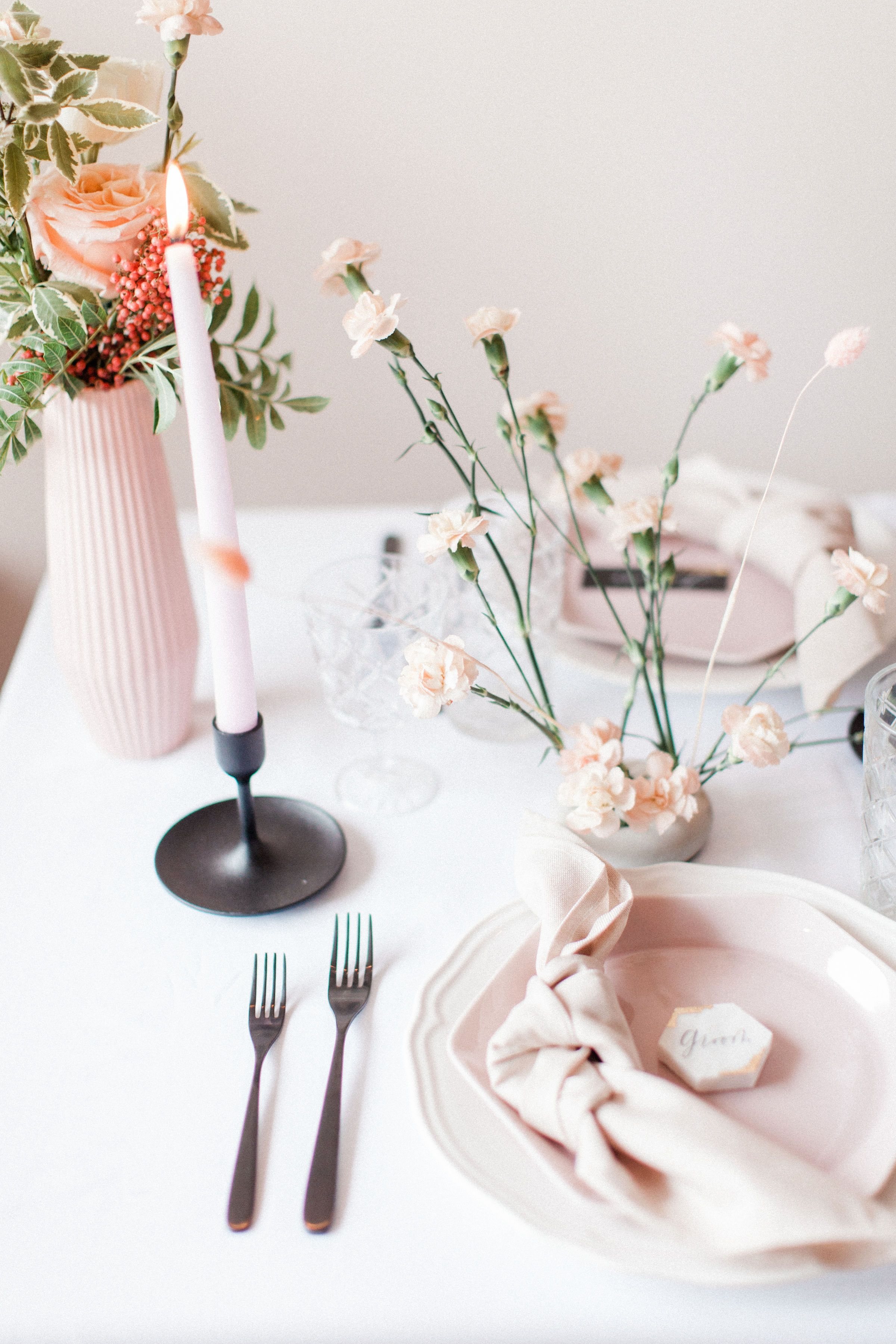 Pink Tablescape Pink Tablescape Black Taper Candles Tablescapes