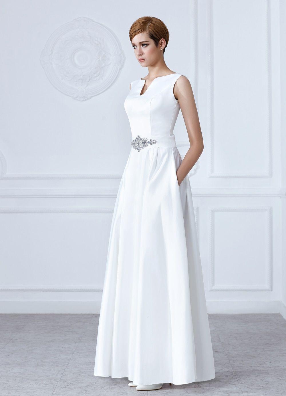 a9b424b8f9 SOCCI White V-Neck Crystal sashes Long Wedding Dresses Sleeveless ...