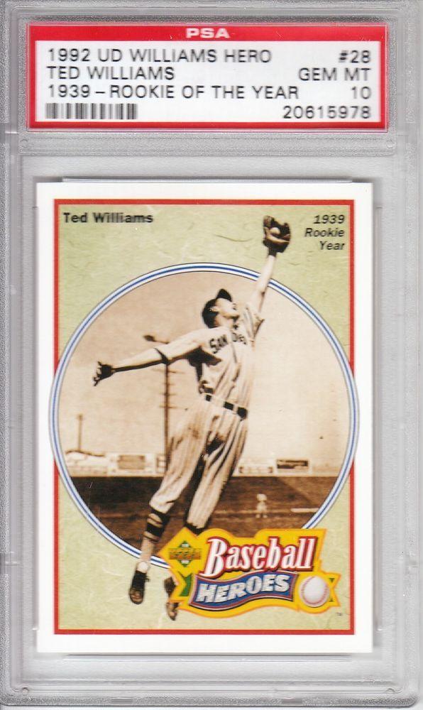 1992 Upper Deck Baseball Heroes Ted Williams 28 1939 Rookie Year