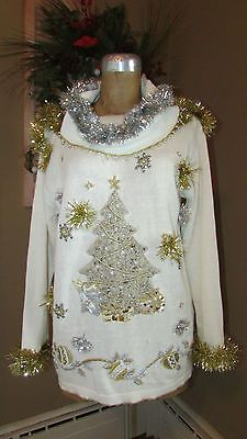 f9325b3a3115 UGLY Christmas Sweater Silver   Gold Christmas Tree one of a kind sz ...