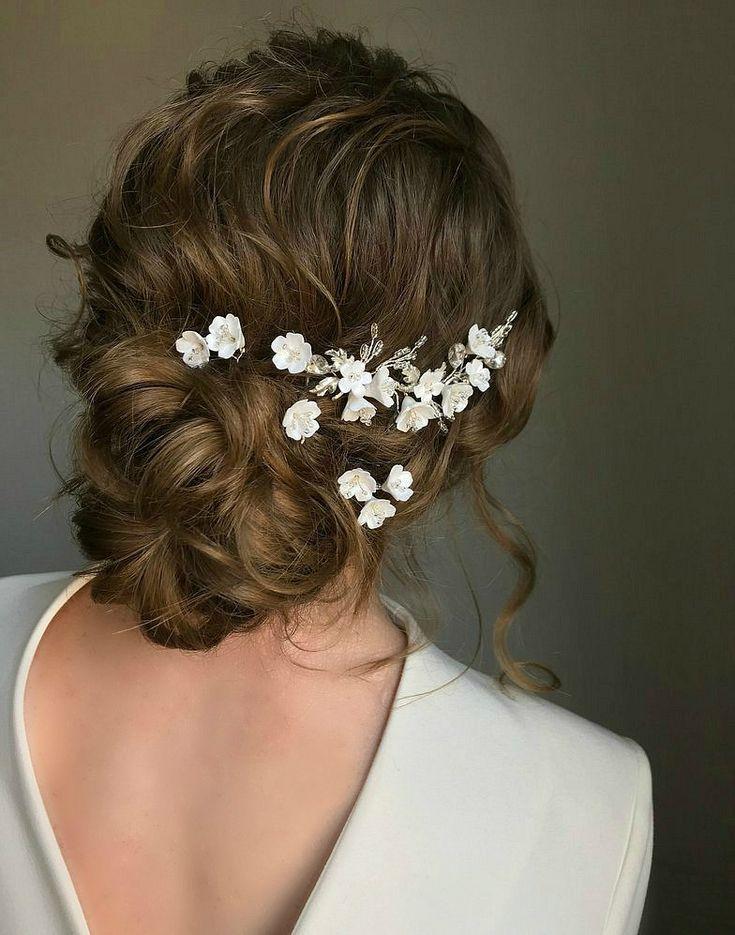 Set Bridal Hair Pins Small White Flower & Leaves Wedding Hair | Etsy