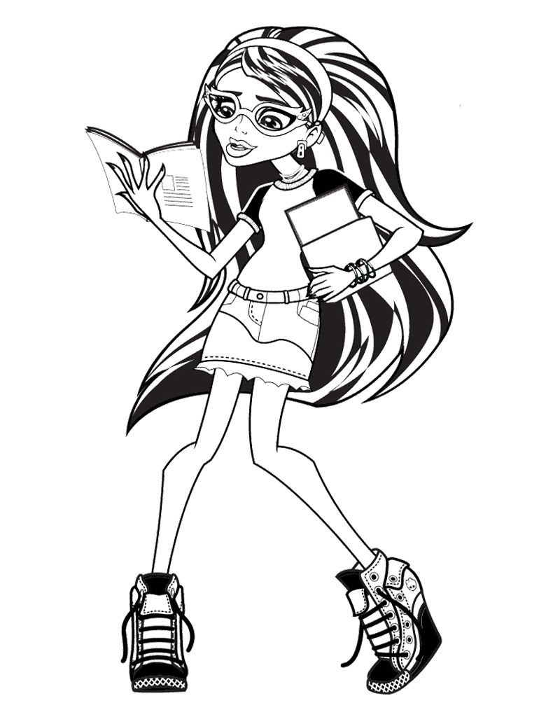 ghoulia yelps monster high reading book coloring page monster