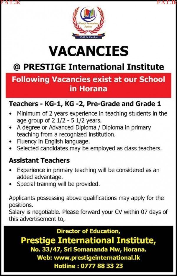 Vacancies At Prestige International Institute Horana Teaching