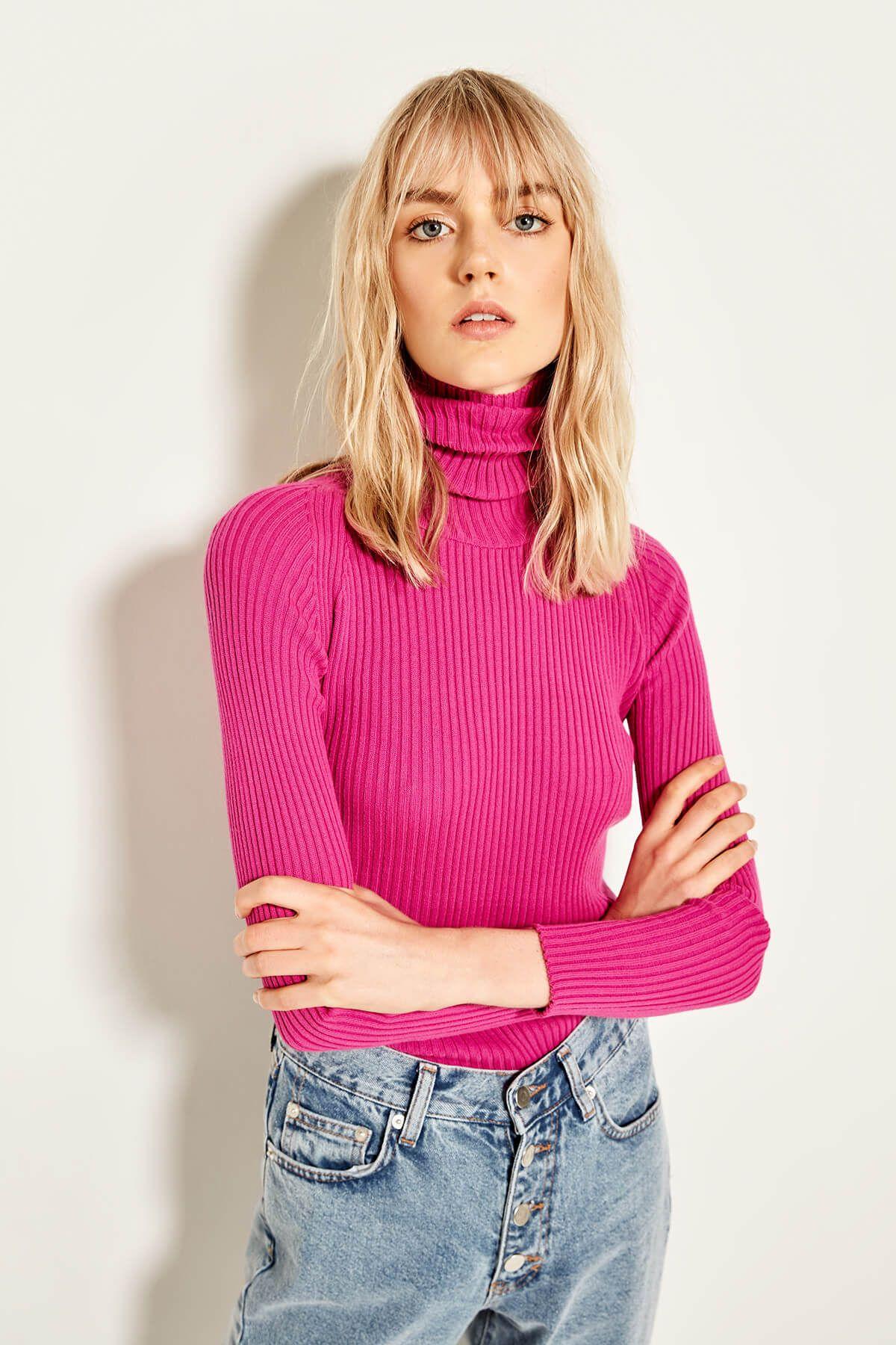 US 9.79 Trendyol Fisherman Sweater Fuchsia Neck Sweater