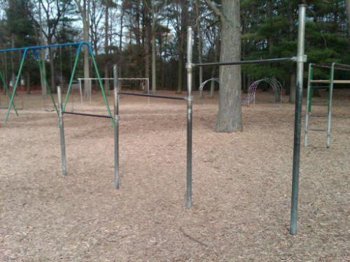 Clark school playground monkey bars. The scene of my first grade fall.