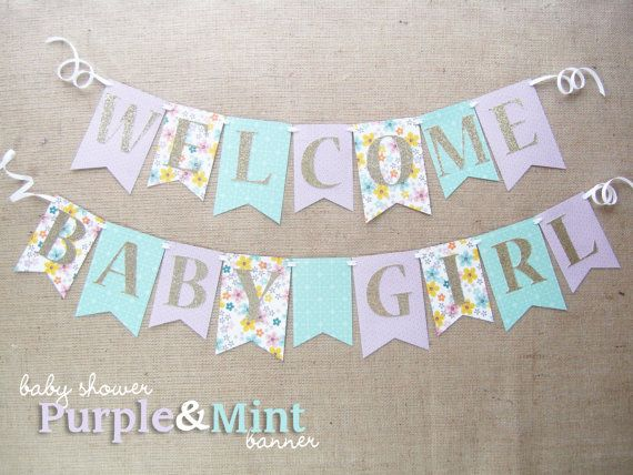 Purple mint and gold baby shower banner by for Welcome home baby shower decorations