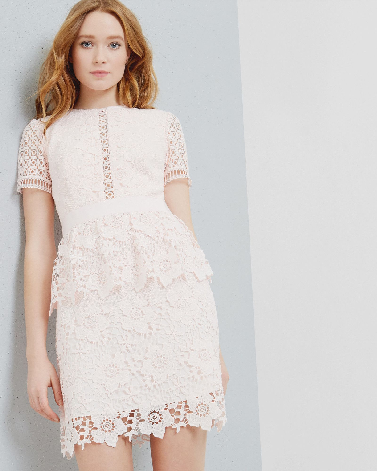 322abf77c7e67 Layered lace dress - Baby Pink