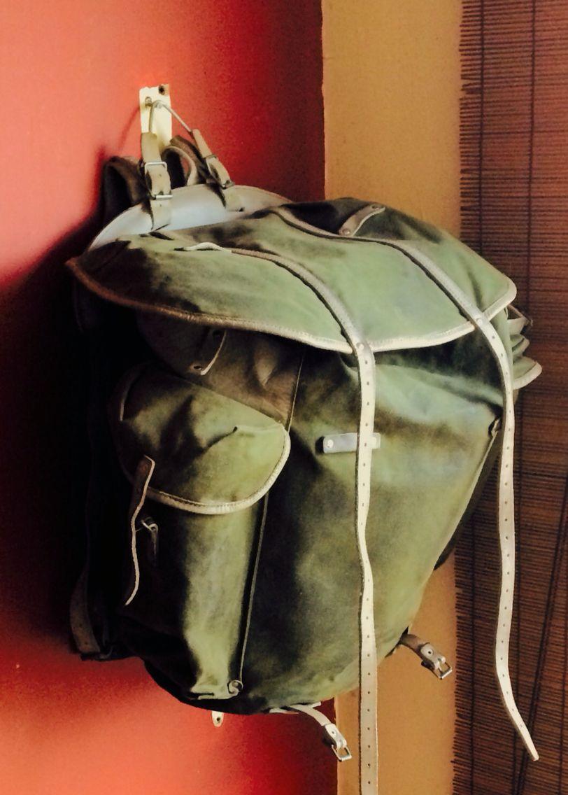 vintage norwegian army canvas rucksack