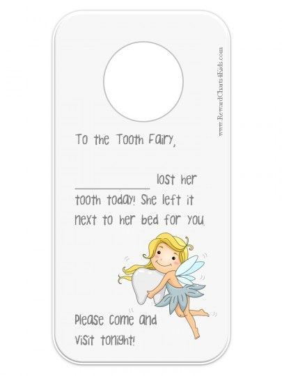 Tooth Fairy Letter to hang on door | Tooth Fairy Certificates ...