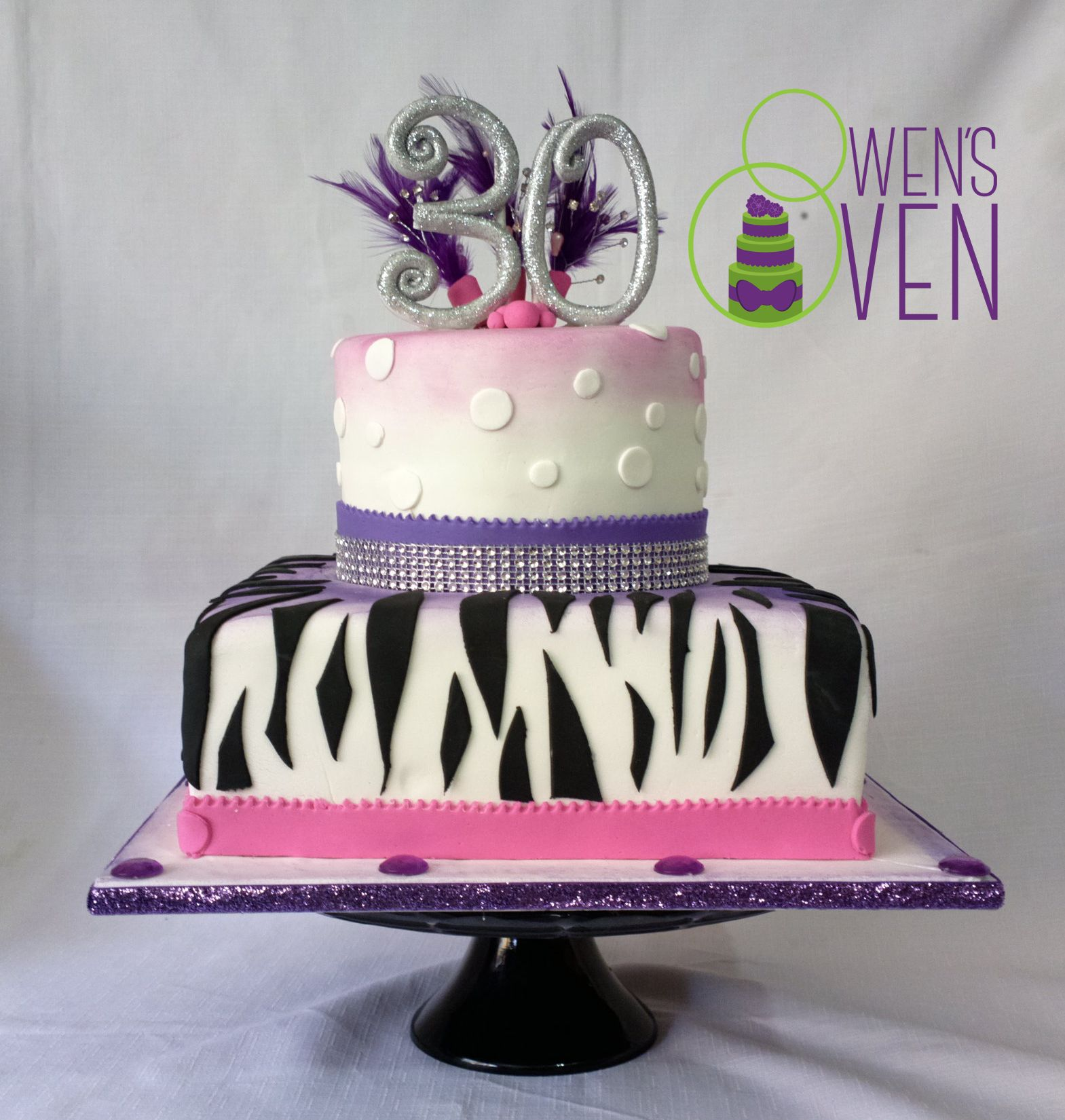 30th Birthday Cake Zebra Print Feathers Glitter And Bling