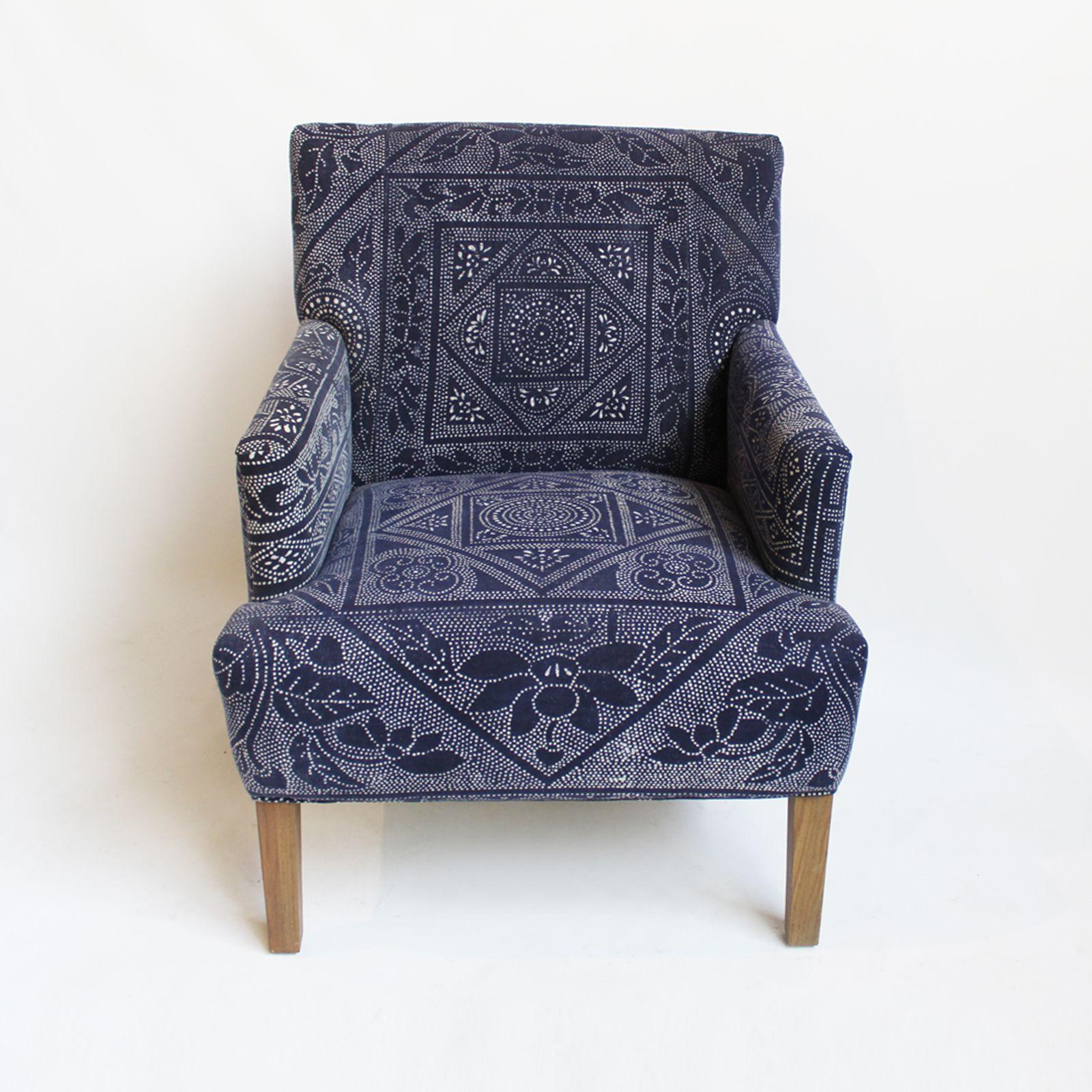 Best Vintage Upholstered Denim Blue Dyed Original Hand Dyed Dot 400 x 300