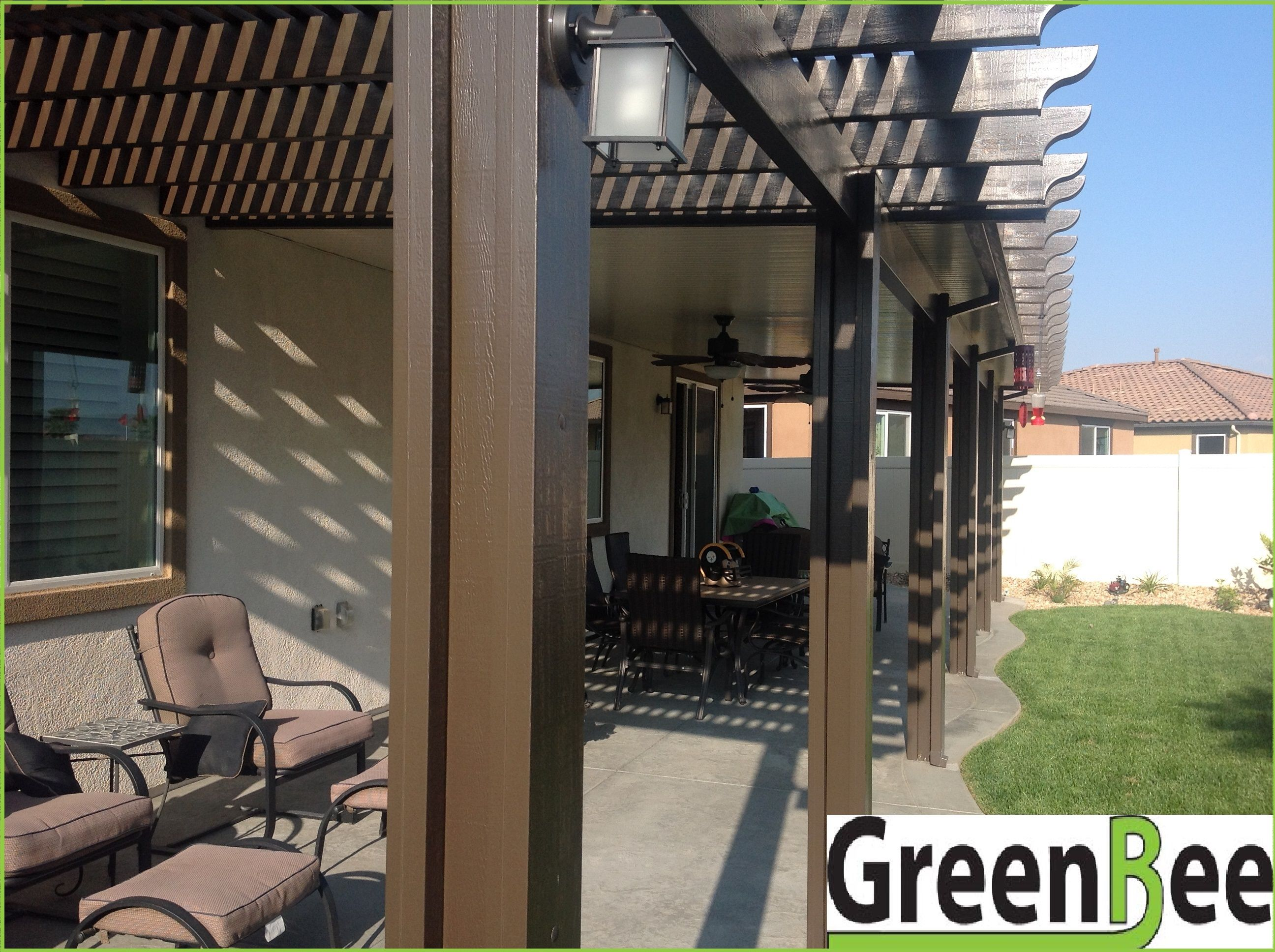 Alumawood Lattice And Solid Patio Cover Combined With Electrical