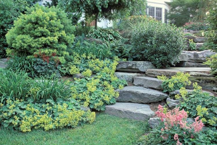 Escalier en pierre et marches dans le jardin- déco et nécessité ...