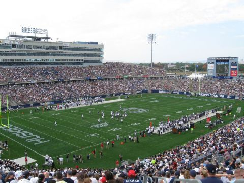 Rentschler Field I Ve Been Going Here Since It Opened In 2003 This View Is Just About Where We Sit College Football Football Stadiums Stadium