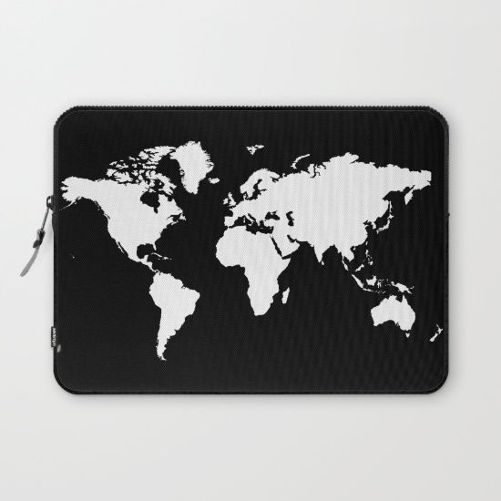 Buy black white world map laptop sleeve by haroulita worldwide buy black white world map laptop sleeve by haroulita worldwide shipping available at society6 gumiabroncs Choice Image