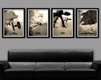 Force Inspired Star Wars Inspired Minimalist By Bigtimeposters Star Wars Decor Star Wars Bedroom Star Wars Canvas Art