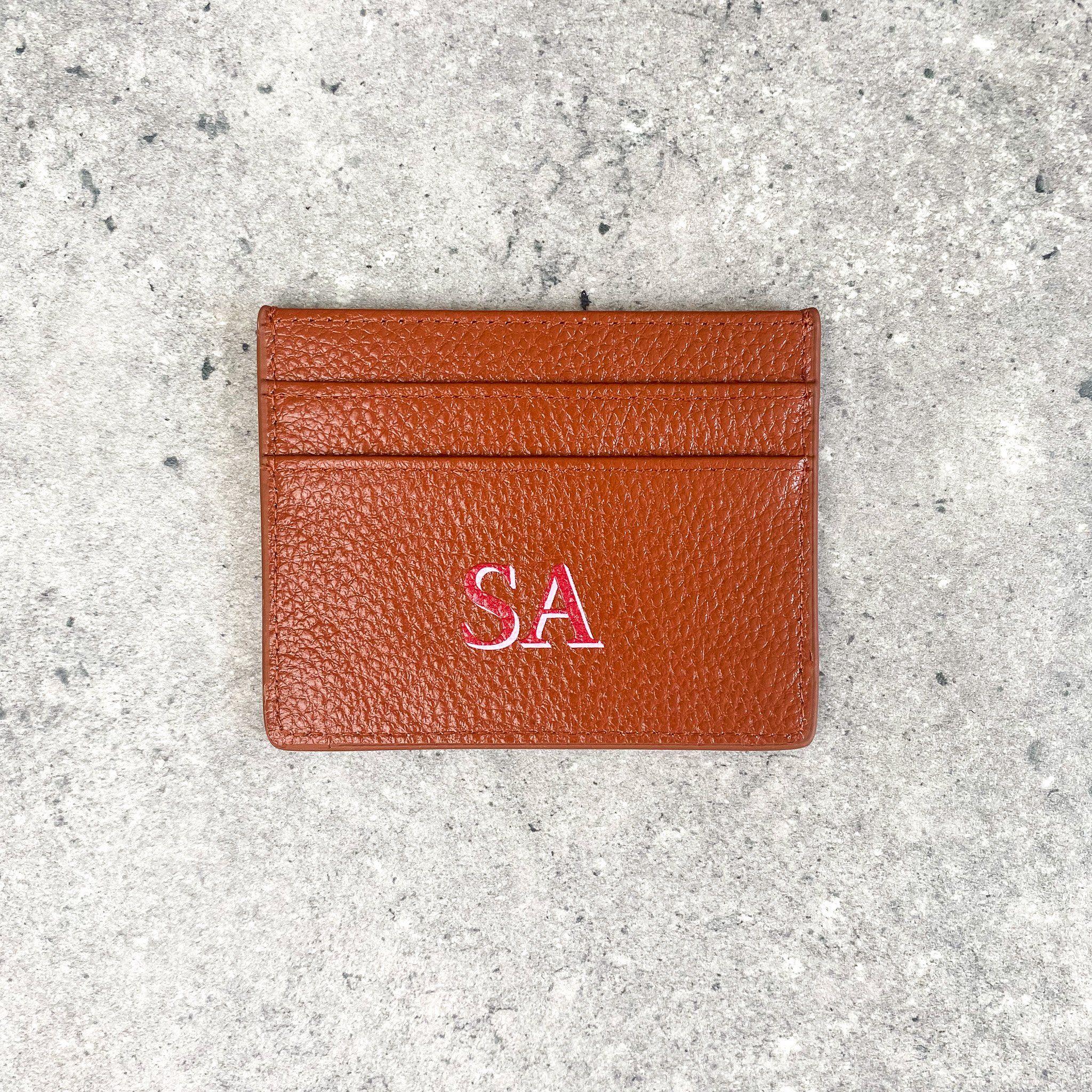 Drop Shadow Pebble Leather Card Holder | Tan
