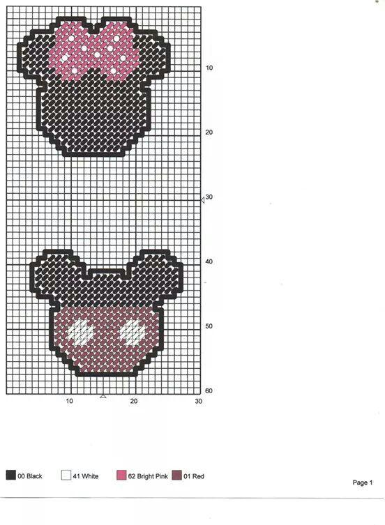 Mickey and Minnie magnets | Cross stitch | Pinterest | Lona de ...