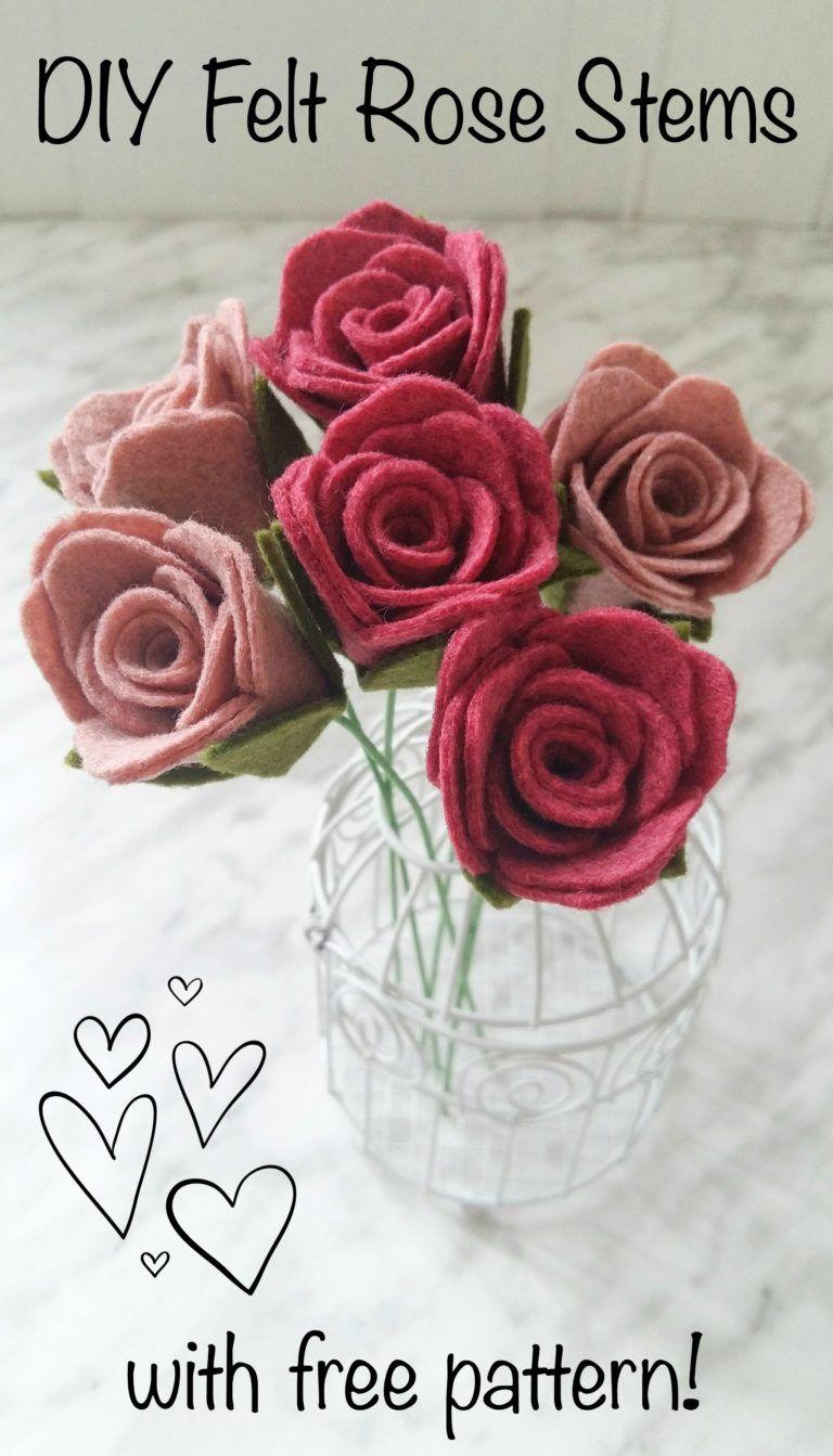 Diy felt rose stems with pattern the yellow birdhouse