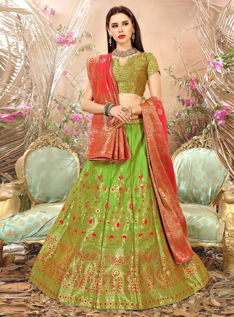 101d9cd47db Buy Light Green Banarasi Silk A Line Lehenga Choli 129868 online at best  price from vast collection of Lehenga Choli and Chaniya Choli at ...