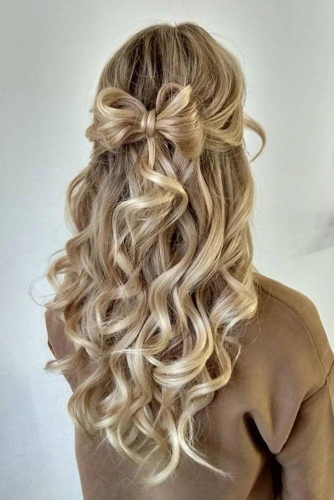 70 prettiest bridal hairstyles   Wavy wedding hair, Half ...