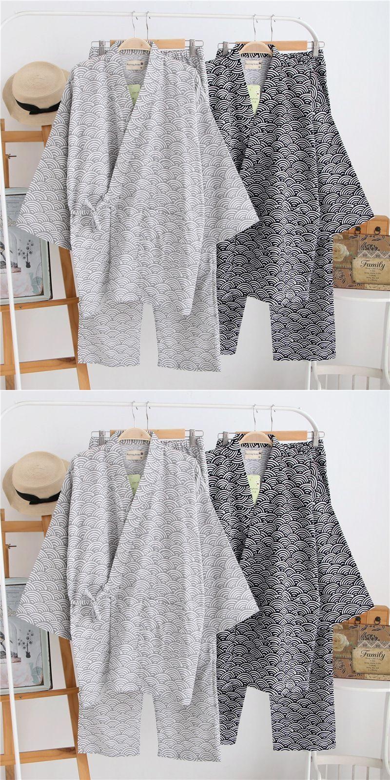f271b31225 Summer Cotton short sleeve pyjamas Men s Traditional Japanese kimono pajama  sets Men Lounge Home Yukata Sleepwear