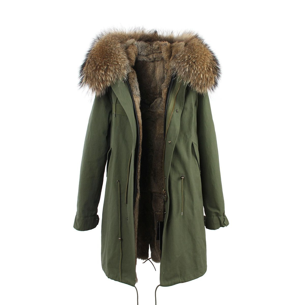 8a4e81123db7f New Fashion women s army green Large raccoon fur collar hooded long coat  parkas outwear rabbit fur lining winter jacket