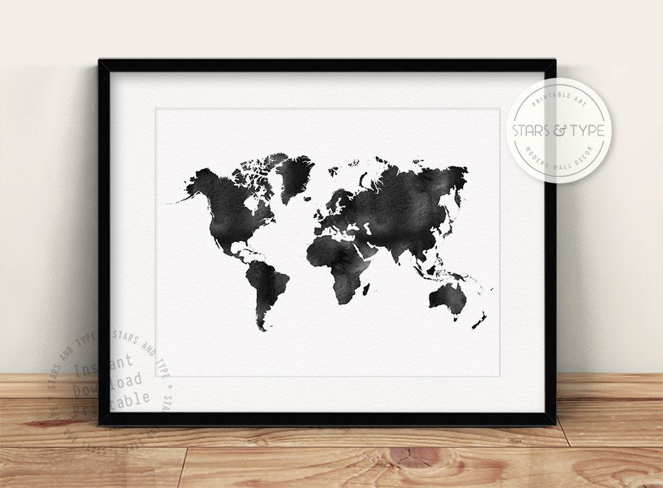 World map black watercolor effect printable wall art modern home world map black watercolor effect printable wall art modern home decor travel poster gumiabroncs Images