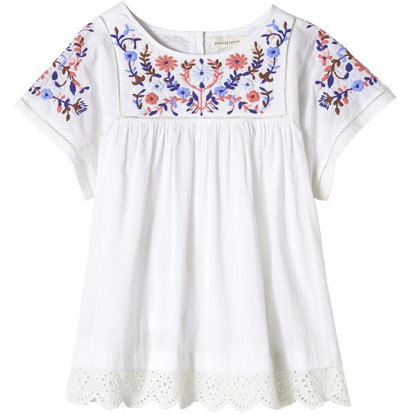 35a909d4e0 Rebecca Taylor Folk Garden Embroidery Top ( 295) ❤ liked on Polyvore  featuring tops