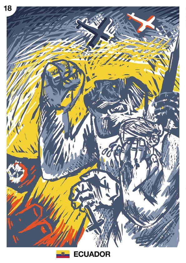 """Mes del mundial: Ecuador Junio, Día 18 Juani Navarro  """"Versión de Eduardo Kingman mezcladito con un poco de Oswaldo Guayasamín""""  www.juaninavarro.tumblr.com"""