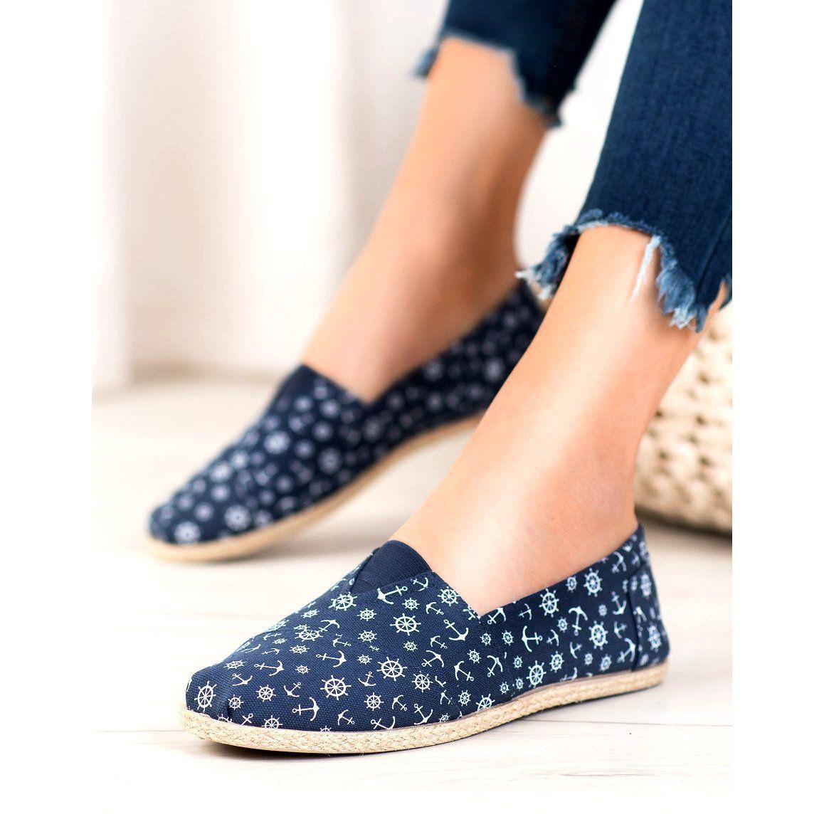 Mckey Slipony Z Marynarskim Wzorem Niebieskie Heels Shoes Mule Shoe