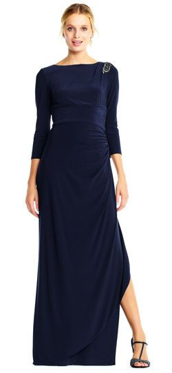 db9645d36b Three Quarter Sleeve Pin Tucked Jersey Gown with Beaded Accent ...