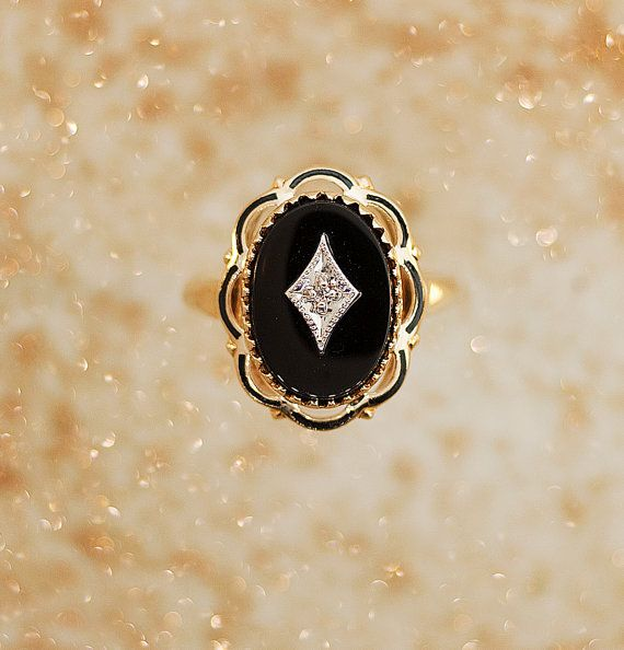 Antique Ring Antique 1920s Black Onyx and Diamond Ring