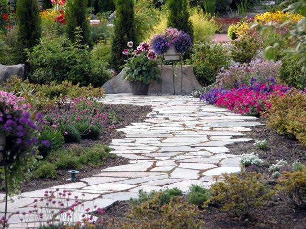 gartenideen steinplatten pflanzen gehweg kübelpflanzen Gärten - garten und landschaftsbau vorher nachher