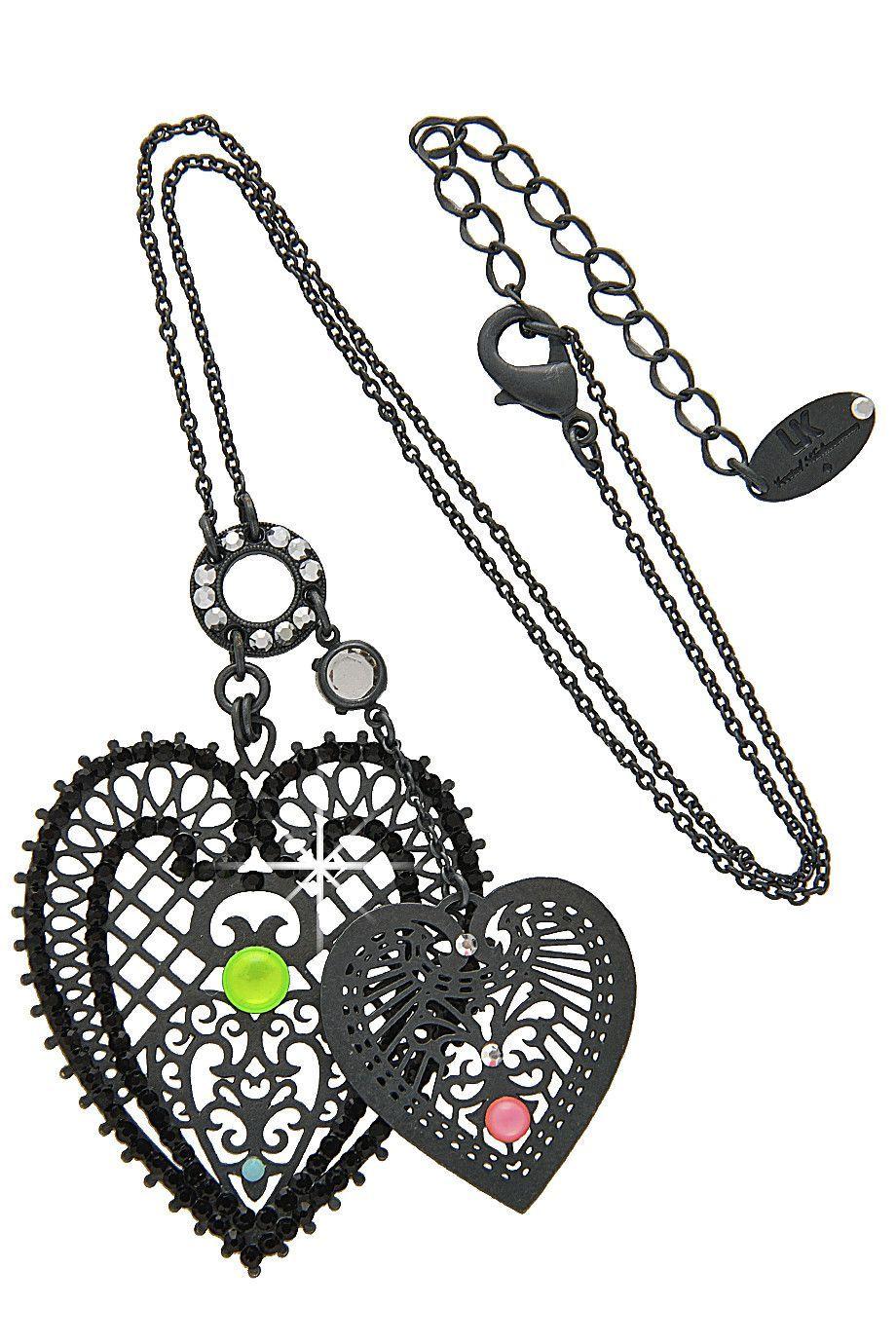 CHERI Multi Color Black Heart Pendant