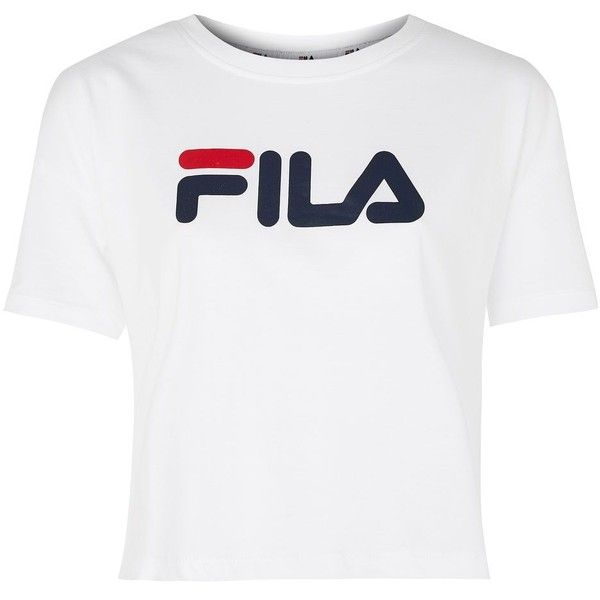 Cropped Logo T-Shirt by Fila (446.400 IDR) ❤ liked on Polyvore featuring