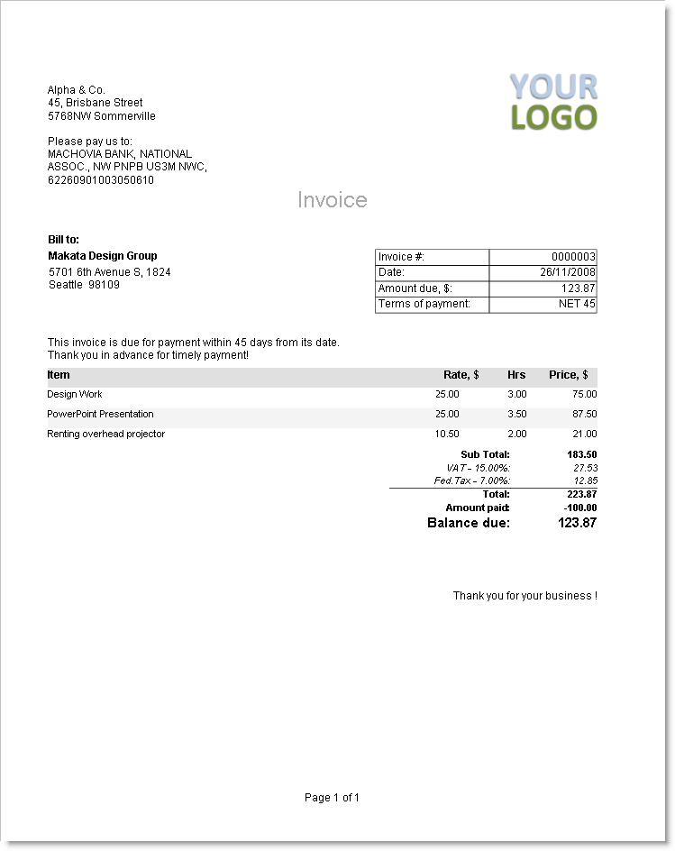 Template Form Invoice Template Billing Software Invoicing For Your - Software company invoice format