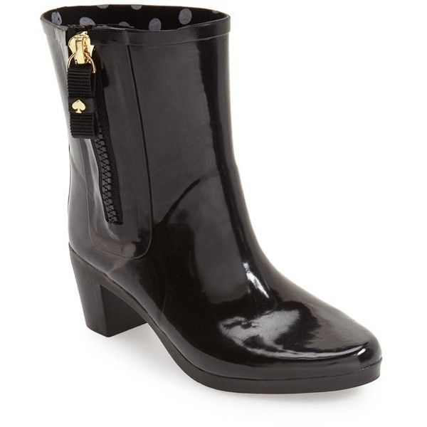 Women's Kate Spade New York 'Penny' Rain Bootie (£135) ❤ liked on Polyvore featuring shoes, boots, ankle booties, black, black bootie boots, black ankle boots, ankle boots, black booties and chunky heel booties