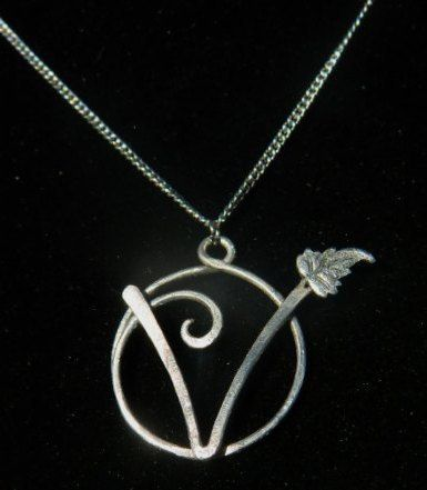 V Pendant With Leaf Vegan Vegetarian Symbol By Lewelyns On Etsy