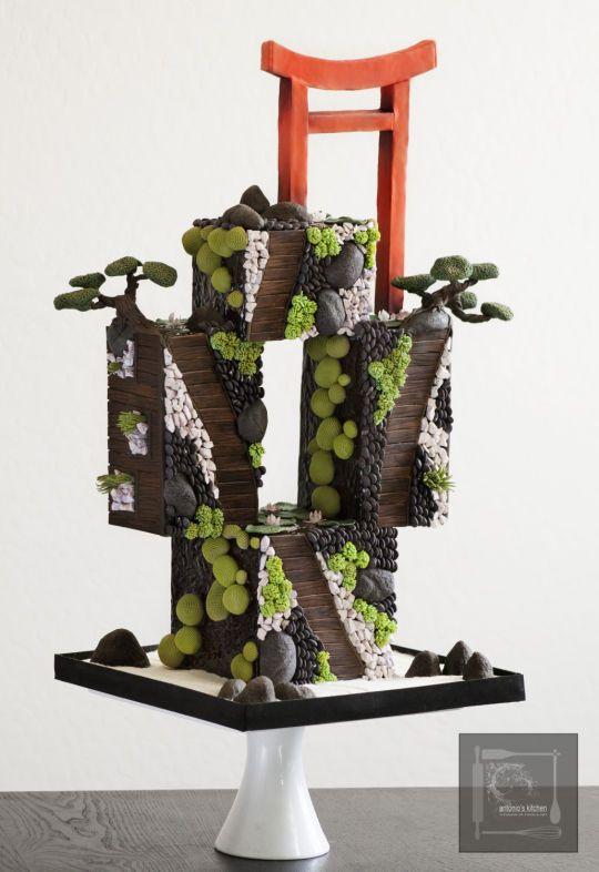 Japanese garden wedding cake