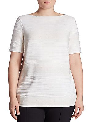 Lafayette 148 New York, Plus Size Sequin Boatneck Sweater - Cloud