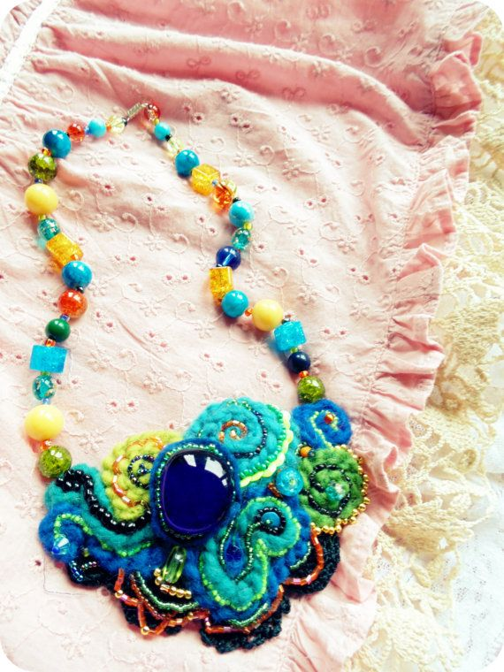 Blue Fantasy free form crochet & beads artistic by BetulaAlbaArt