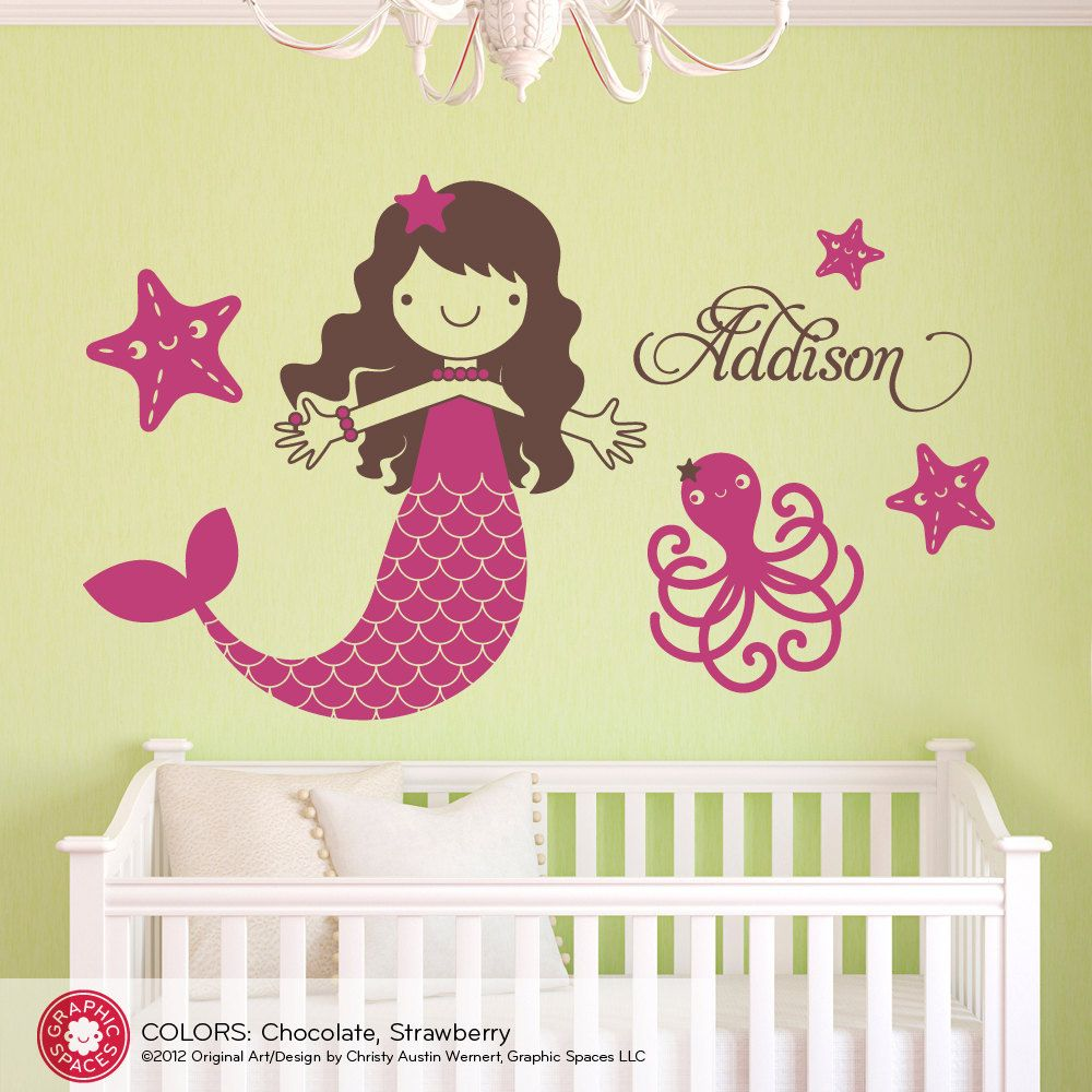 Starfish Mermaid Decal Girls Name Ocean Sea Life Octopus Baby ...