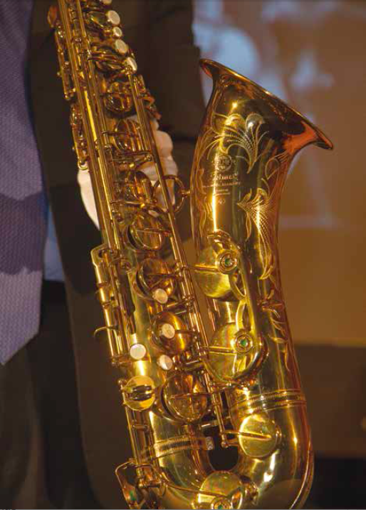 John Coltrane's Selmer Mark VI tenor sax made in Paris about 1965; donated to the Smithsonian Institute.