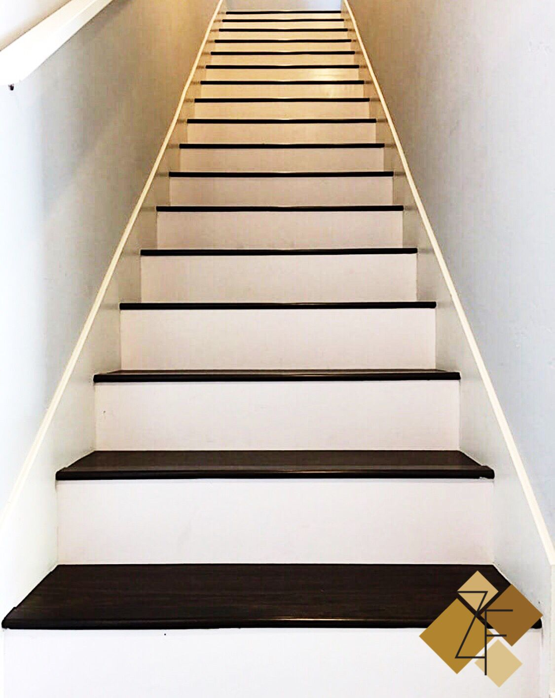 Laminate Stairs With White Risers Laminate Stairs Flooring Projects White Stair Risers