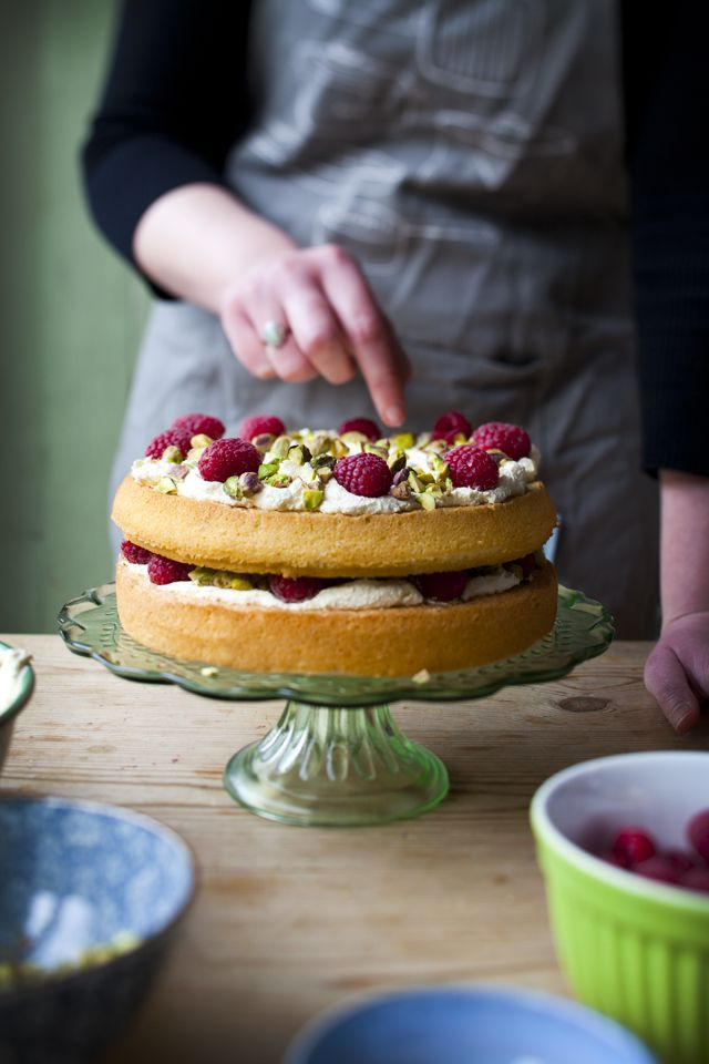 Delicious Pistachio, Raspberry, and Rose naked Cake | http://DonalSkehan.com