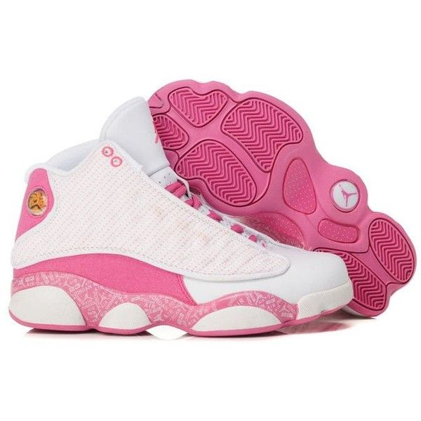 huge discount 795f1 7a8fb Air Jordan 13 GS Pink White,discount New Women Jordans 13 100%... ❤ liked  on Polyvore featuring shoes, sneakers, jordans, white sneakers, white  shoes, pink ...
