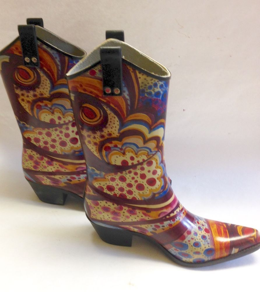 Details about Womens Nomad Rubber Rain Boots Western Cowboy Boot ...